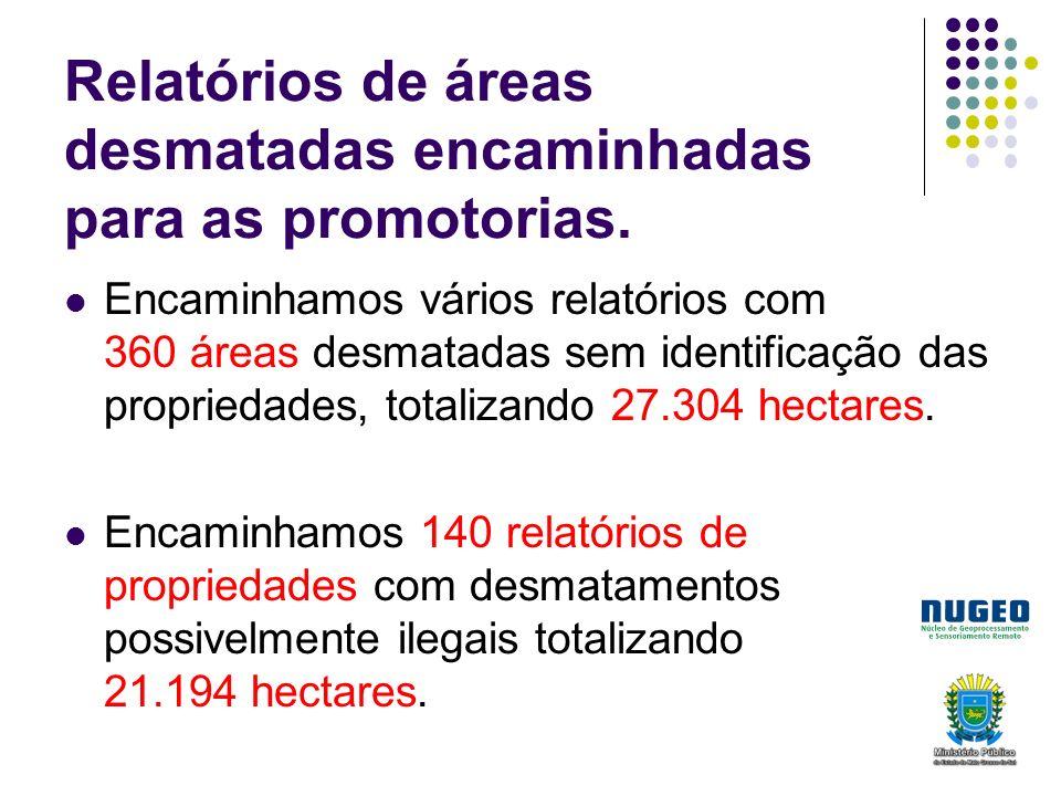 Relatórios de áreas desmatadas encaminhadas para as promotorias.
