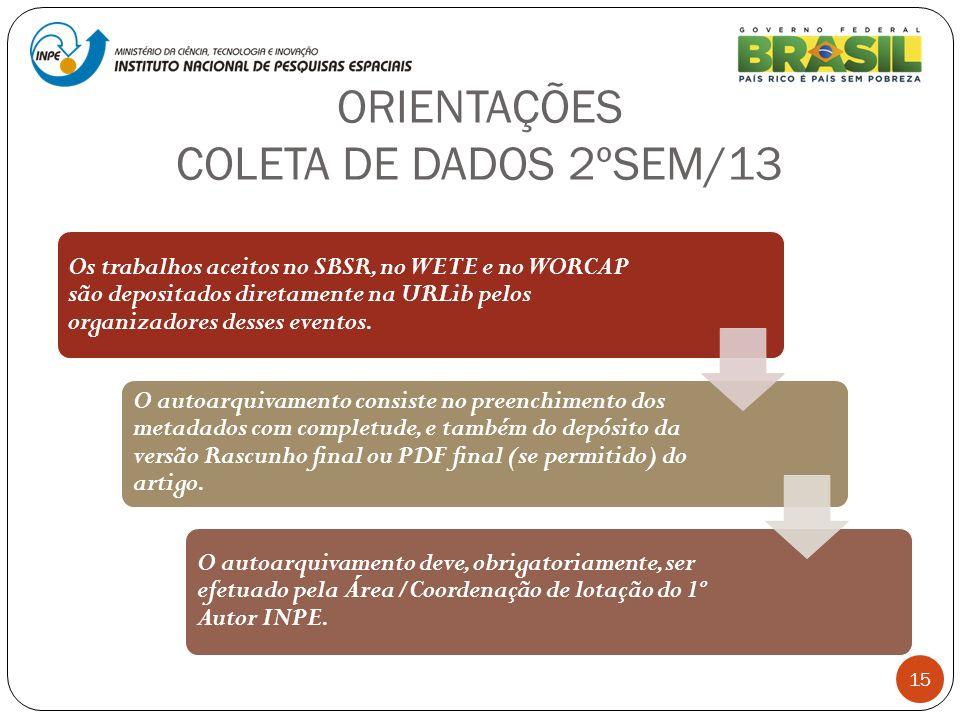 ORIENTAÇÕES COLETA DE DADOS 2ºSEM/13