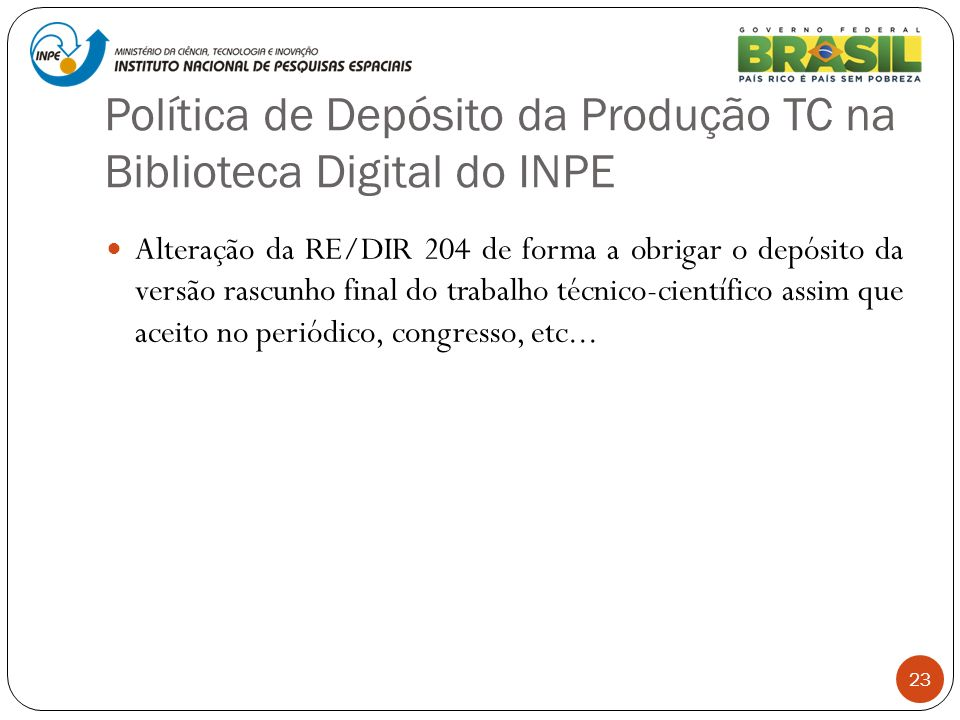 Política de Depósito da Produção TC na Biblioteca Digital do INPE