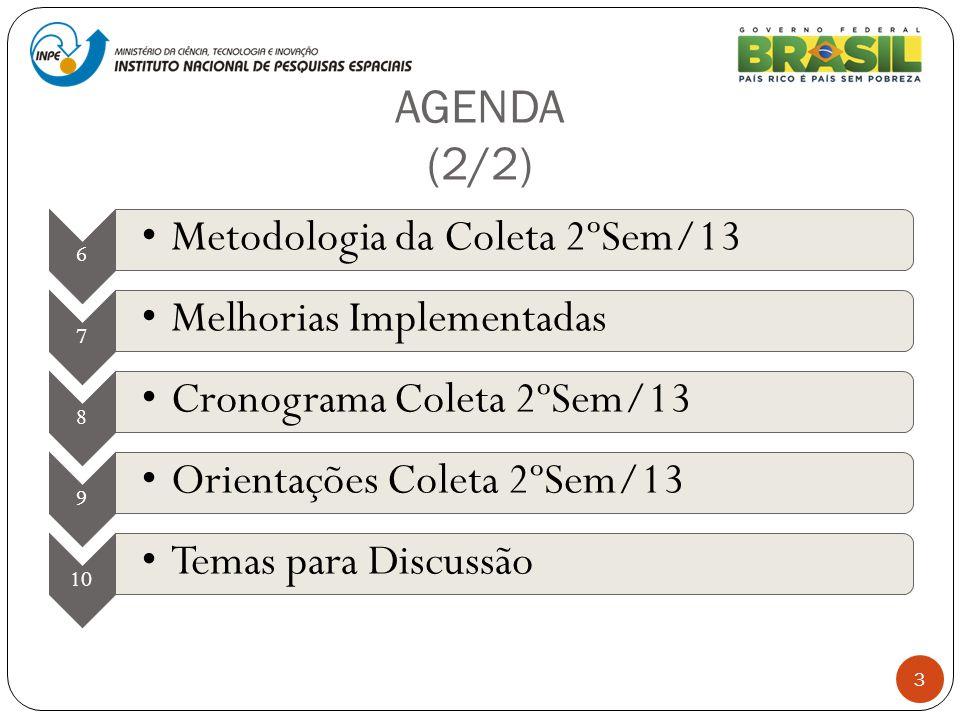 AGENDA (2/2) 6 Metodologia da Coleta 2ºSem/13 7