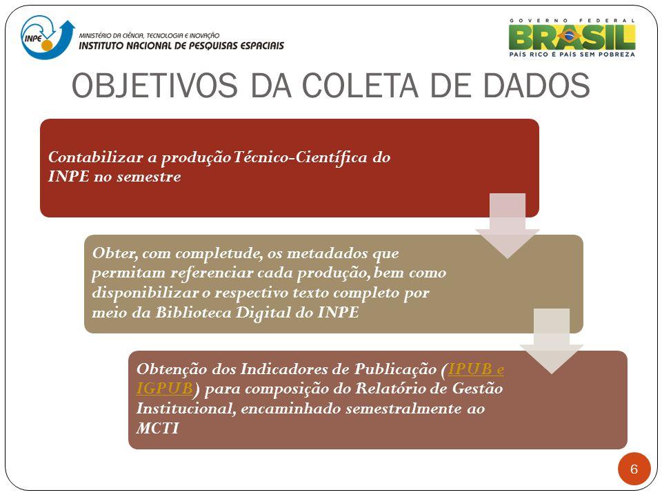 OBJETIVOS DA COLETA DE DADOS