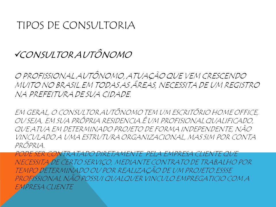 TIPOS DE CONSULTORIA CONSULTOR AUTÔNOMO