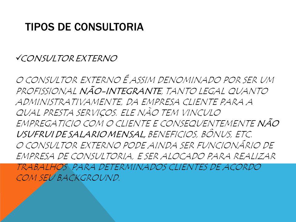 TIPOS DE CONSULTORIA CONSULTOR EXTERNO