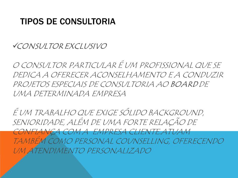 TIPOS DE CONSULTORIA CONSULTOR EXCLUSIVO