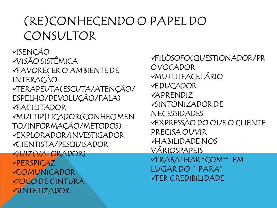 (RE)CONHECENDO O PAPEL DO CONSULTOR