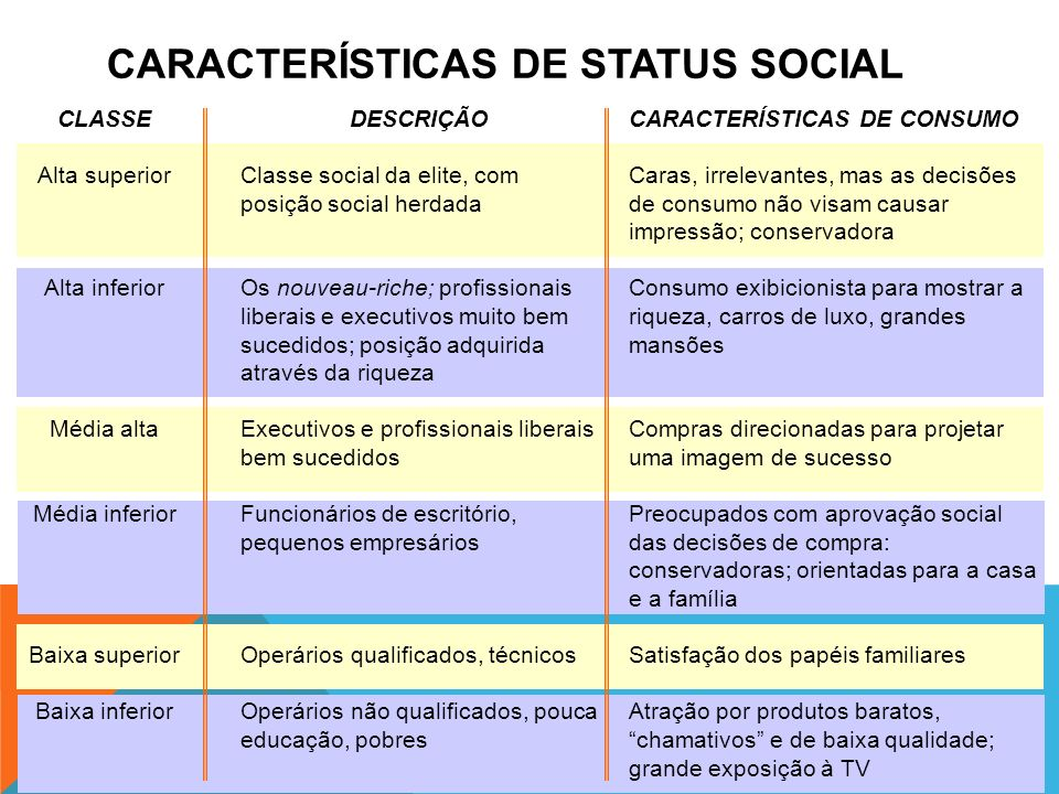 CARACTERÍSTICAS DE STATUS SOCIAL