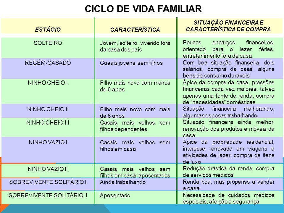 CICLO DE VIDA FAMILIAR SITUAÇÃO FINANCEIRA E CARACTERÍSTICA DE COMPRA
