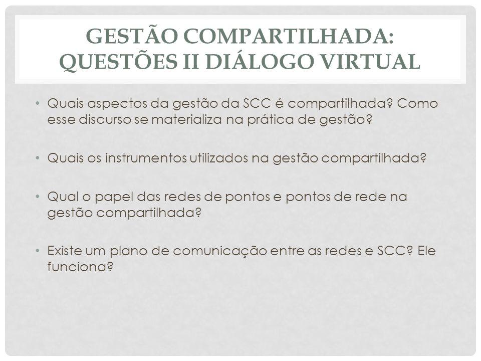 Gestão compartilhada: questões II Diálogo virtual