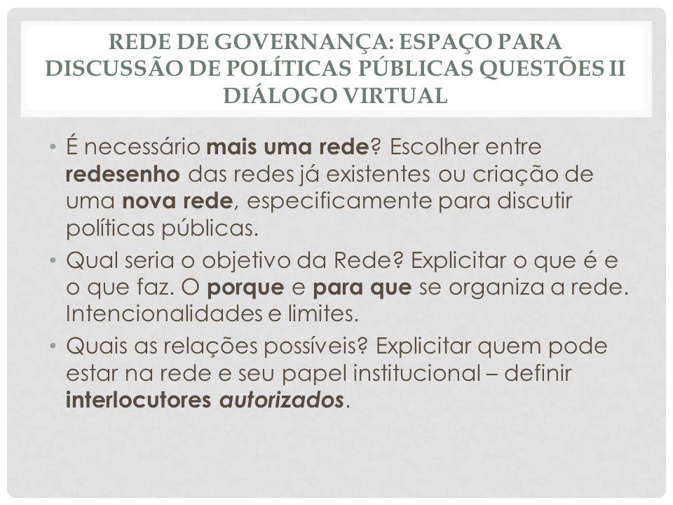 Rede de governança: espaço para discussão de políticas públicas questões II Diálogo virtual