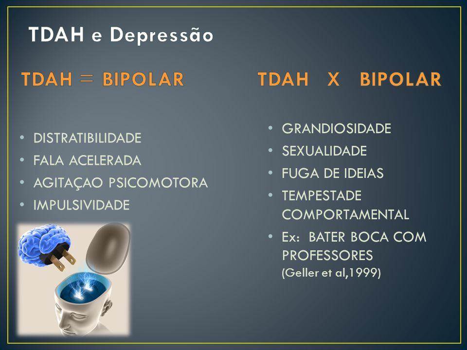 TDAH e Depressão TDAH = BIPOLAR TDAH X BIPOLAR GRANDIOSIDADE