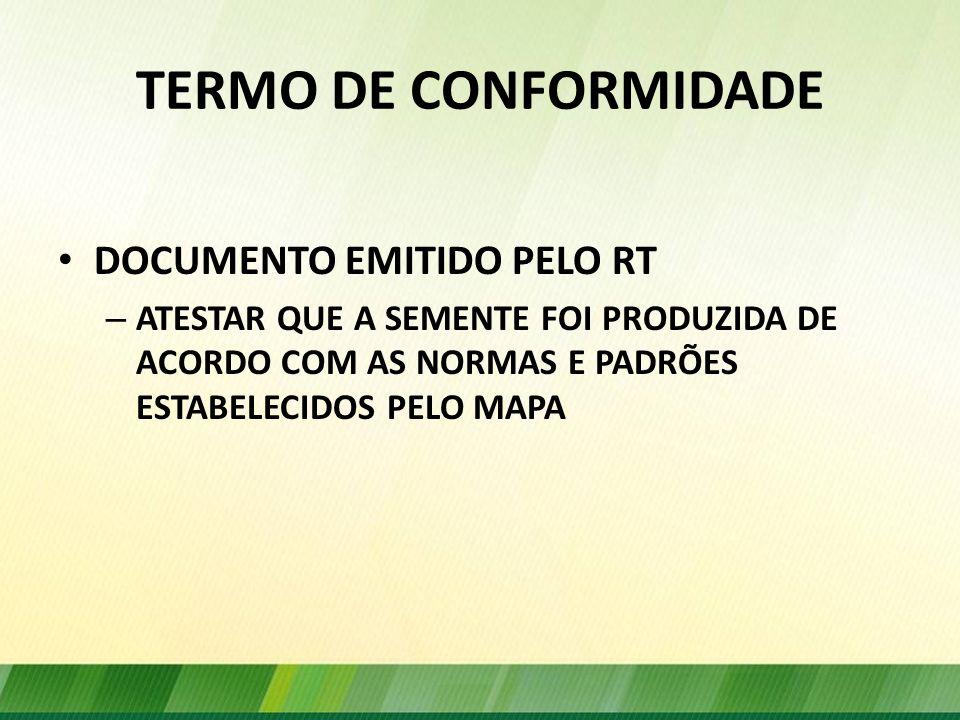 TERMO DE CONFORMIDADE DOCUMENTO EMITIDO PELO RT