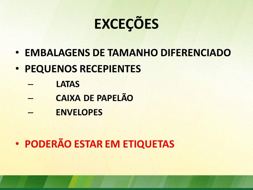 EXCEÇÕES EMBALAGENS DE TAMANHO DIFERENCIADO PEQUENOS RECEPIENTES