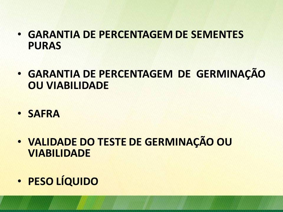 GARANTIA DE PERCENTAGEM DE SEMENTES PURAS