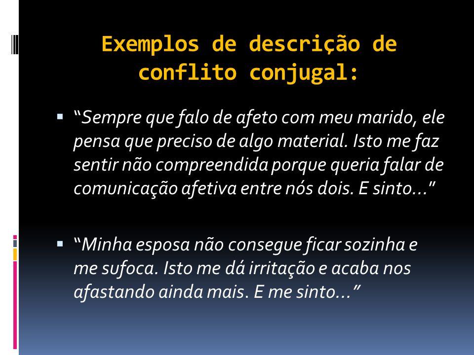Exemplos de descrição de conflito conjugal: