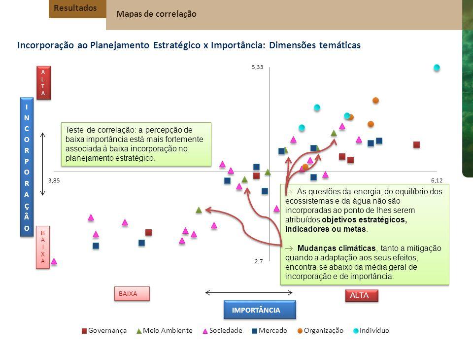 Resultados Mapas de correlação. Incorporação ao Planejamento Estratégico x Importância: Dimensões temáticas.