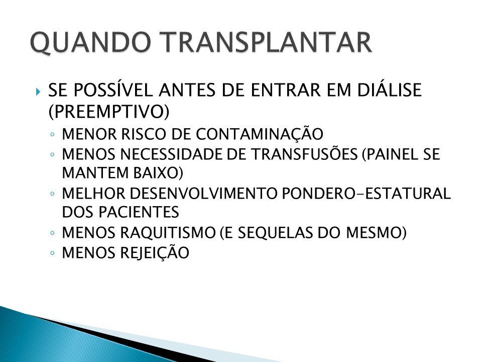 QUANDO TRANSPLANTAR SE POSSÍVEL ANTES DE ENTRAR EM DIÁLISE (PREEMPTIVO) MENOR RISCO DE CONTAMINAÇÃO.