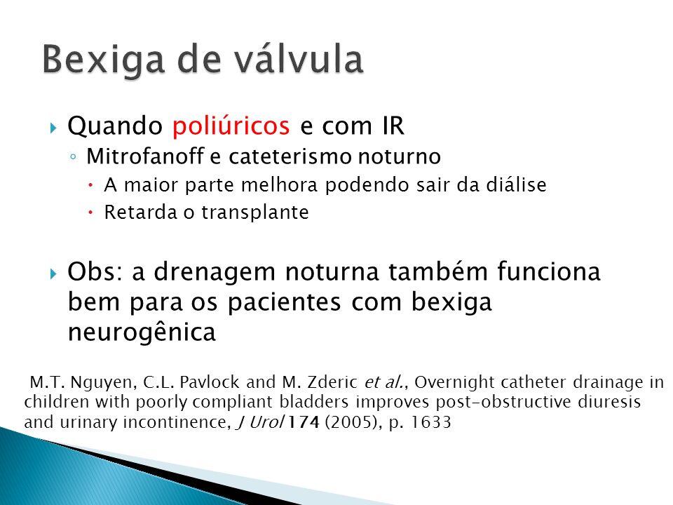 Bexiga de válvula Quando poliúricos e com IR
