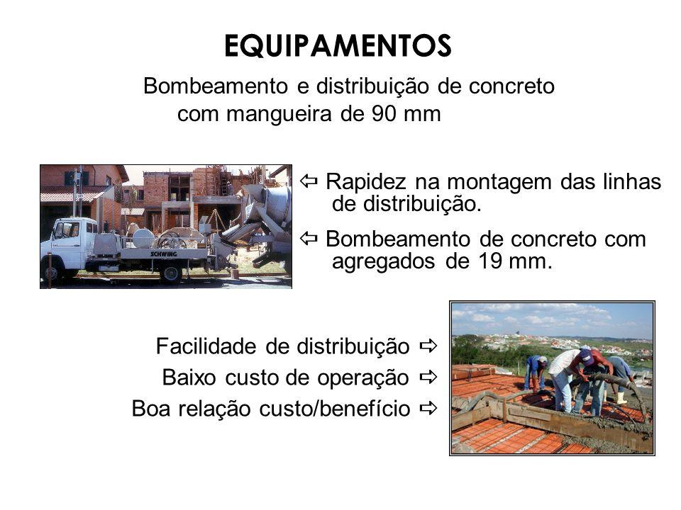 EQUIPAMENTOS Bombeamento e distribuição de concreto com mangueira de 90 mm.  Rapidez na montagem das linhas de distribuição.