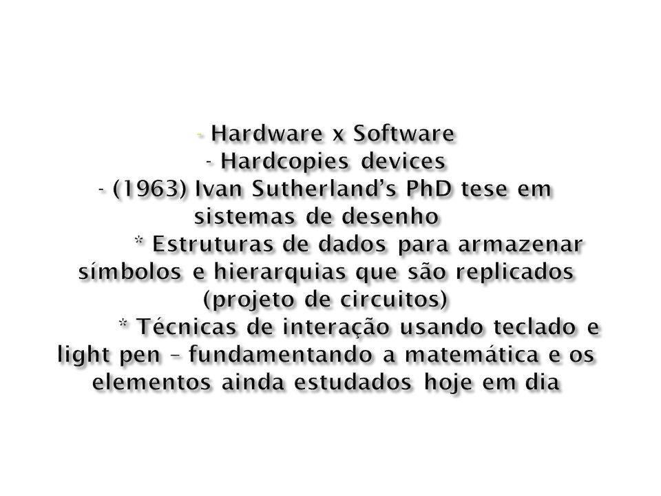 - Hardware x Software - Hardcopies devices - (1963) Ivan Sutherland's PhD tese em sistemas de desenho * Estruturas de dados para armazenar símbolos e hierarquias que são replicados (projeto de circuitos) * Técnicas de interação usando teclado e light pen – fundamentando a matemática e os elementos ainda estudados hoje em dia