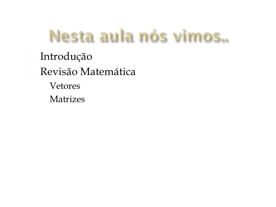 Nesta aula nós vimos.. Introdução Revisão Matemática Vetores Matrizes