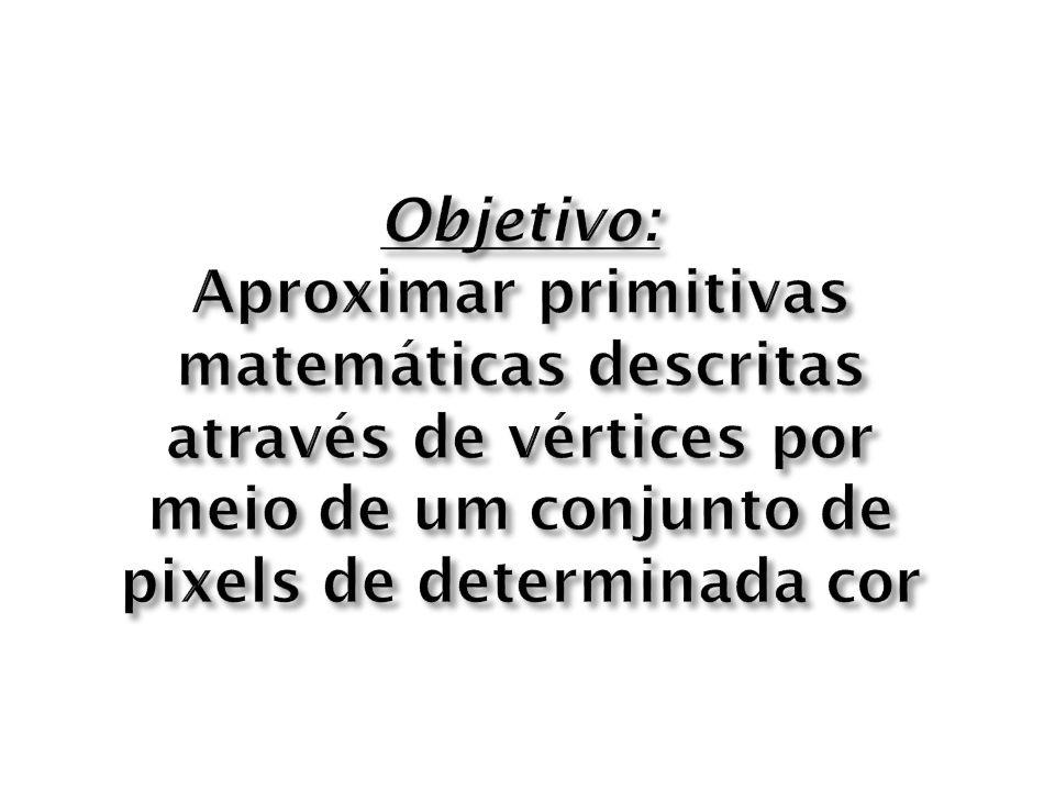 Objetivo: Aproximar primitivas matemáticas descritas através de vértices por meio de um conjunto de pixels de determinada cor