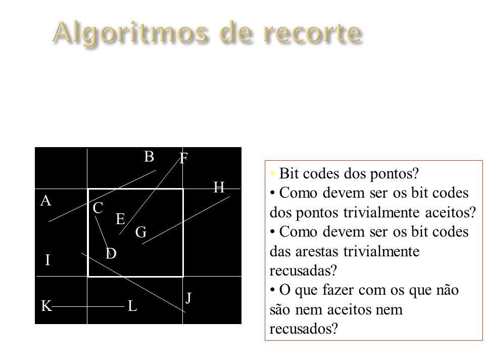 Algoritmos de recorte Algoritmo de Cohen-Sutherland B F