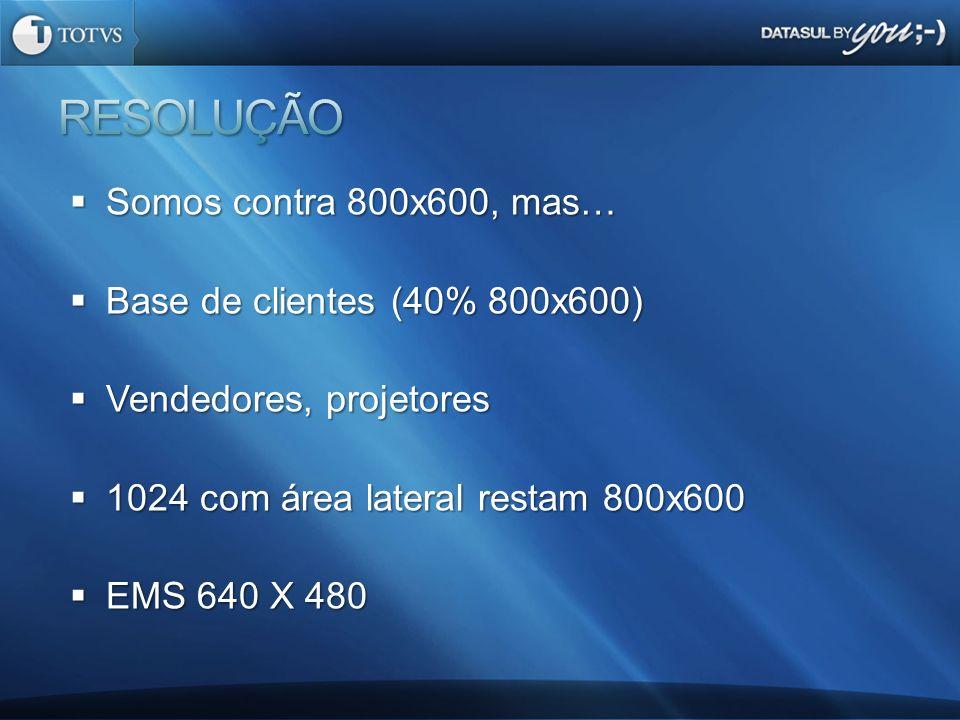 RESOLUÇÃO Somos contra 800x600, mas… Base de clientes (40% 800x600)