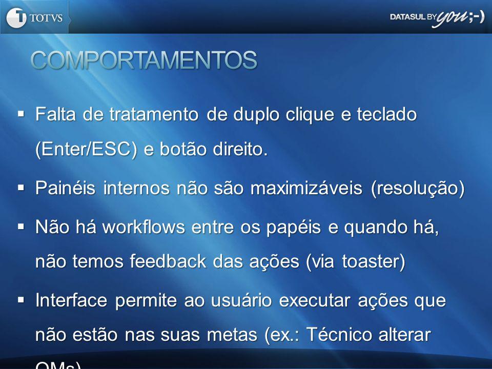 COMPORTAMENTOS Falta de tratamento de duplo clique e teclado (Enter/ESC) e botão direito. Painéis internos não são maximizáveis (resolução)