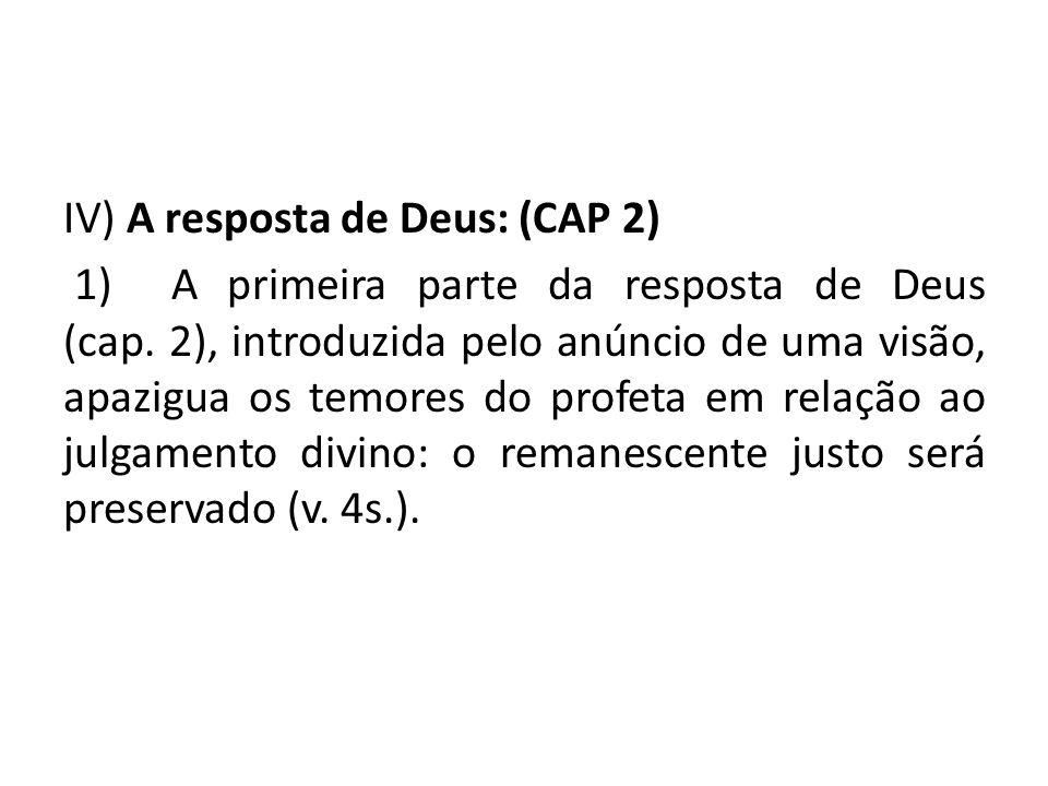 IV) A resposta de Deus: (CAP 2) 1) A primeira parte da resposta de Deus (cap.