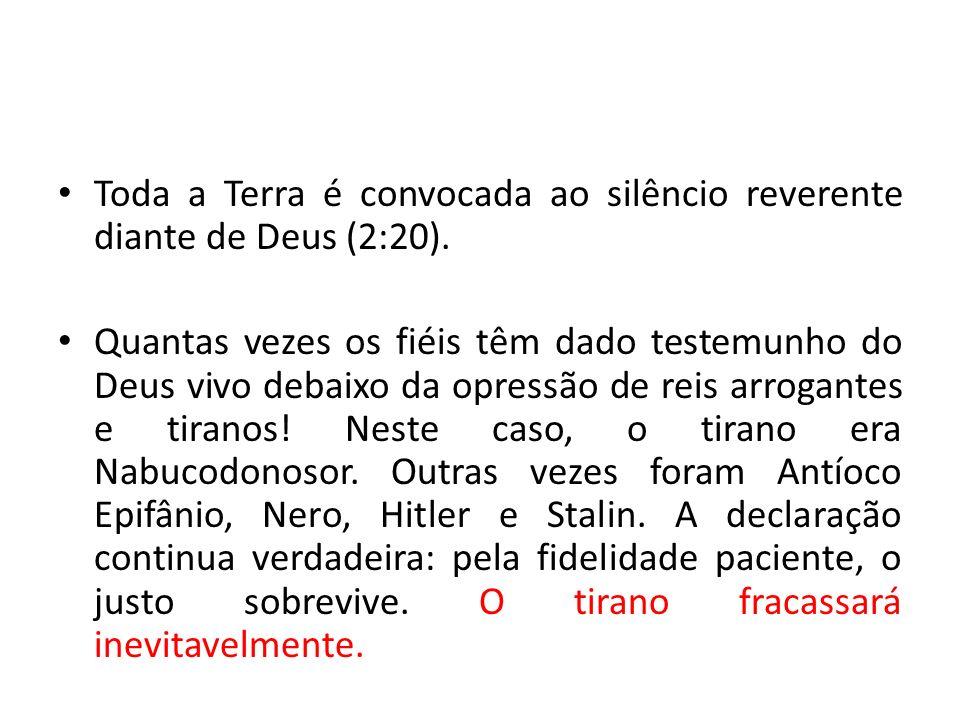 Toda a Terra é convocada ao silêncio reverente diante de Deus (2:20).