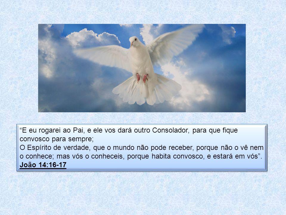 E eu rogarei ao Pai, e ele vos dará outro Consolador, para que fique convosco para sempre; O Espírito de verdade, que o mundo não pode receber, porque não o vê nem o conhece; mas vós o conheceis, porque habita convosco, e estará em vós .