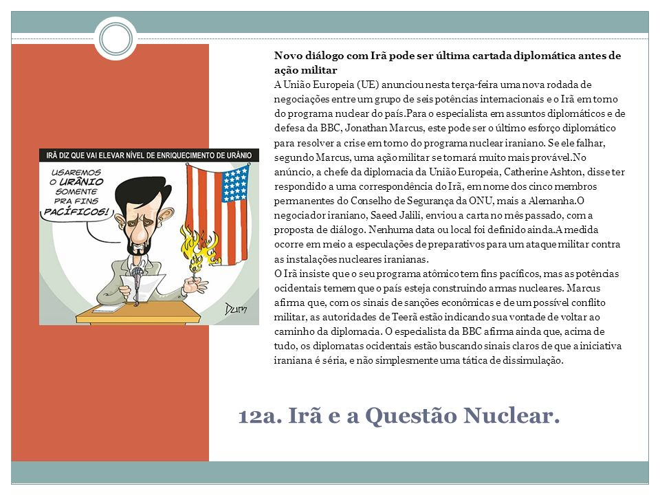 12a. Irã e a Questão Nuclear.