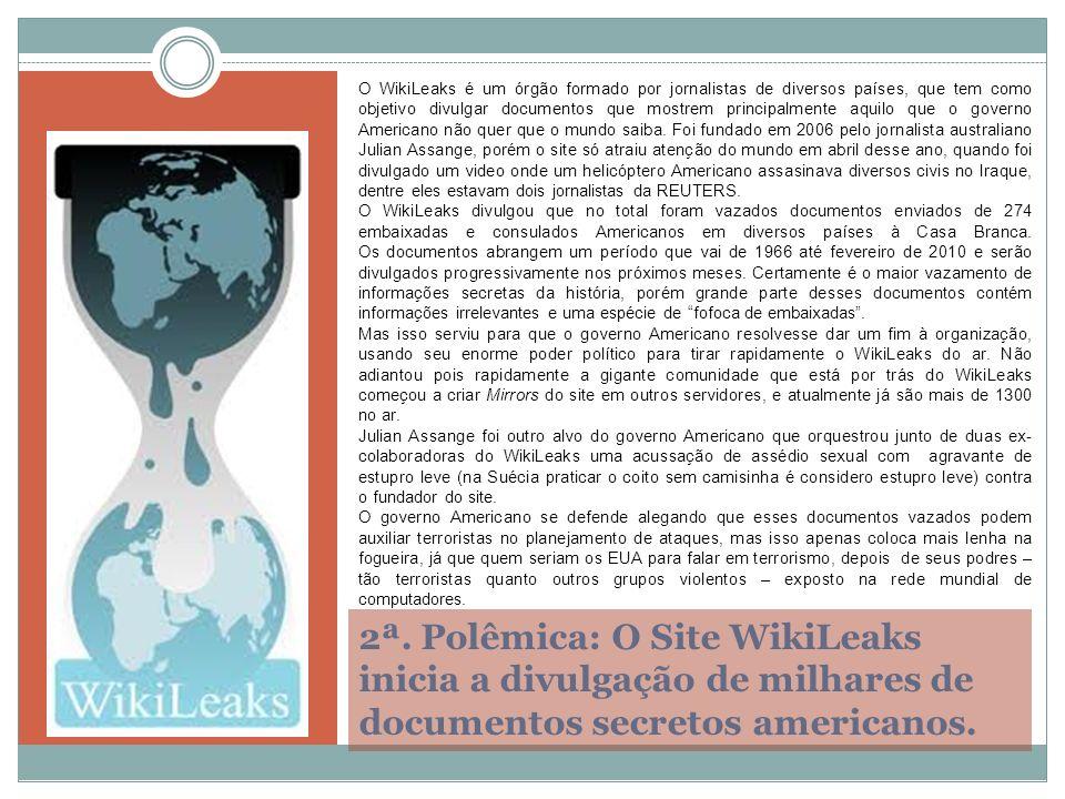 O WikiLeaks é um órgão formado por jornalistas de diversos países, que tem como objetivo divulgar documentos que mostrem principalmente aquilo que o governo Americano não quer que o mundo saiba. Foi fundado em 2006 pelo jornalista australiano Julian Assange, porém o site só atraiu atenção do mundo em abril desse ano, quando foi divulgado um video onde um helicóptero Americano assasinava diversos civis no Iraque, dentre eles estavam dois jornalistas da REUTERS.