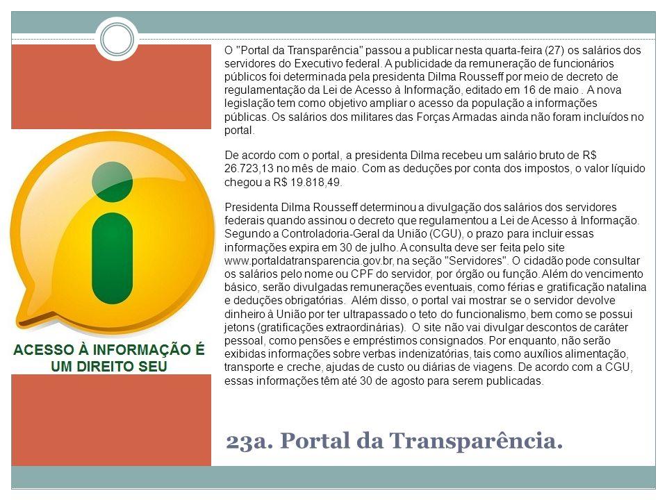 23a. Portal da Transparência.