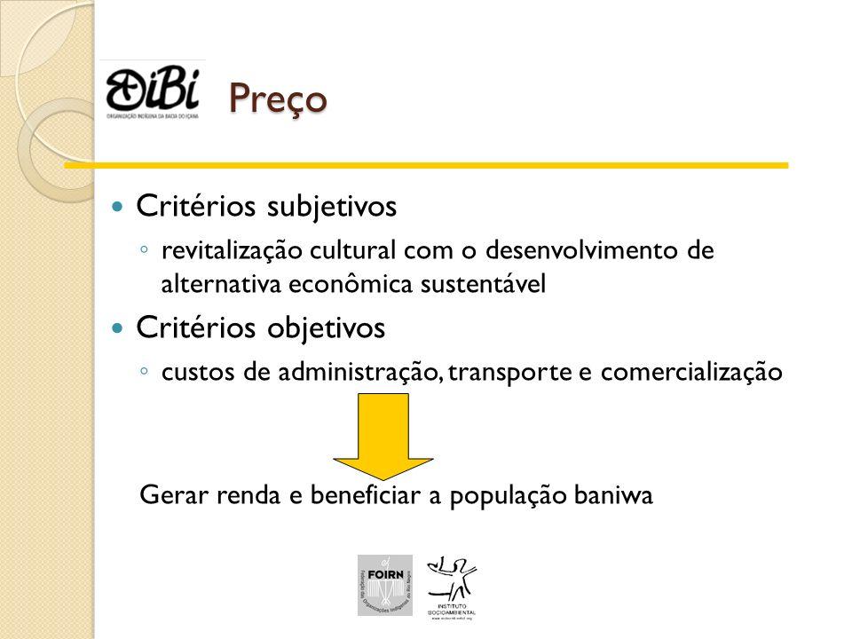 Preço Critérios subjetivos Critérios objetivos