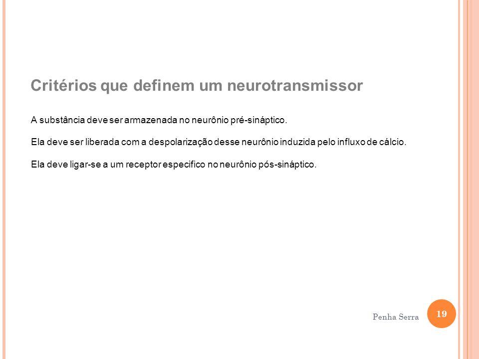 Critérios que definem um neurotransmissor