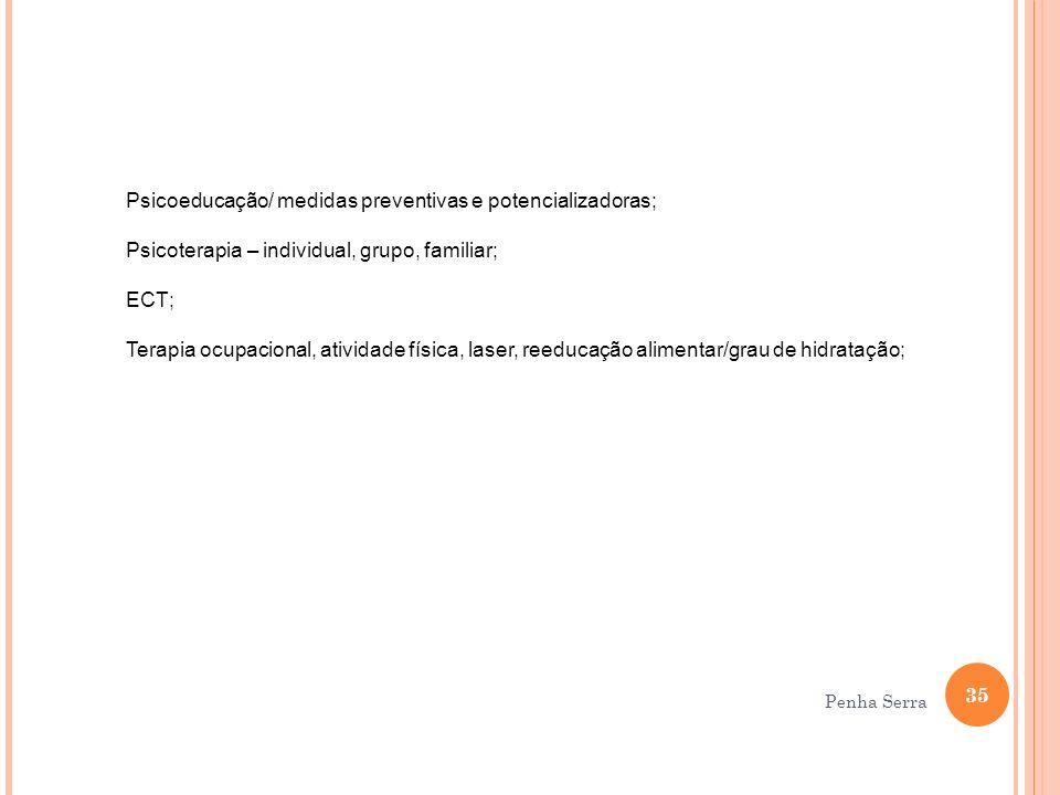 Psicoeducação/ medidas preventivas e potencializadoras;