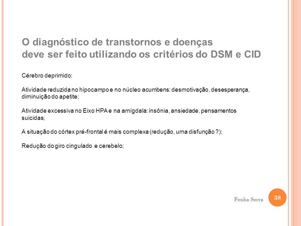O diagnóstico de transtornos e doenças deve ser feito utilizando os critérios do DSM e CID