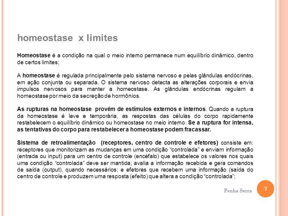 homeostase x limites Homeostase é a condição na qual o meio interno permanece num equilíbrio dinâmico, dentro de certos limites;