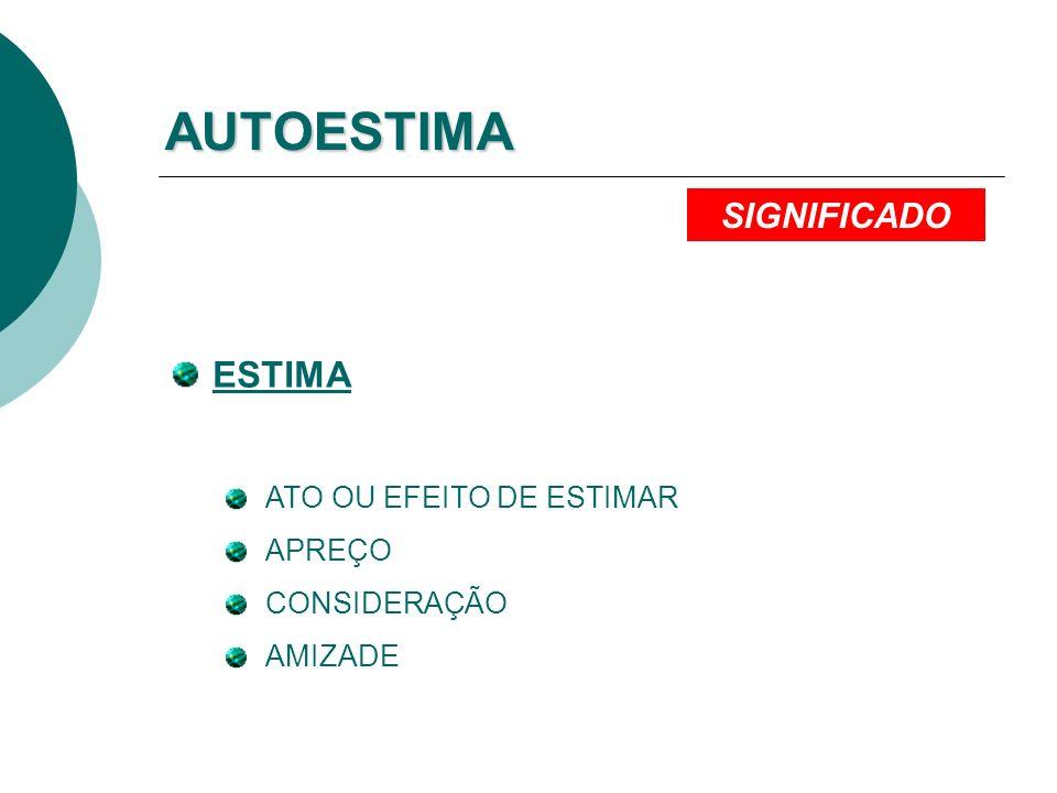 AUTOESTIMA ESTIMA SIGNIFICADO ATO OU EFEITO DE ESTIMAR APREÇO