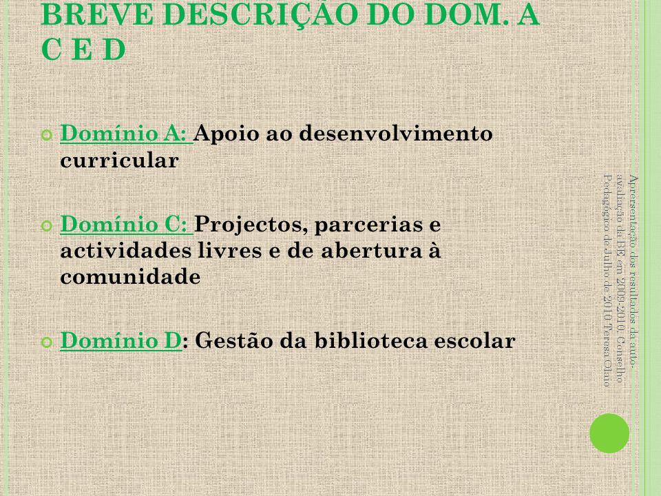 BREVE DESCRIÇÃO DO DOM. A C E D