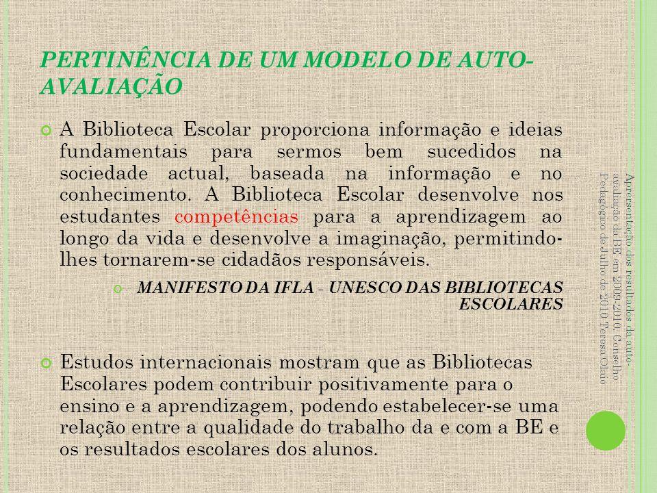 PERTINÊNCIA DE UM MODELO DE AUTO-AVALIAÇÃO