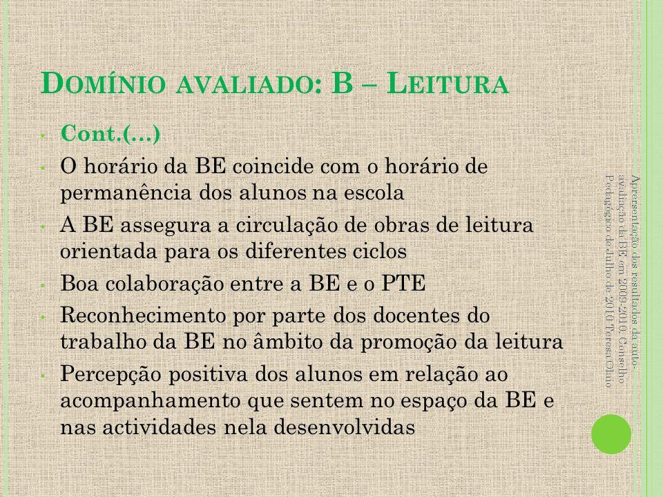 Domínio avaliado: B – Leitura