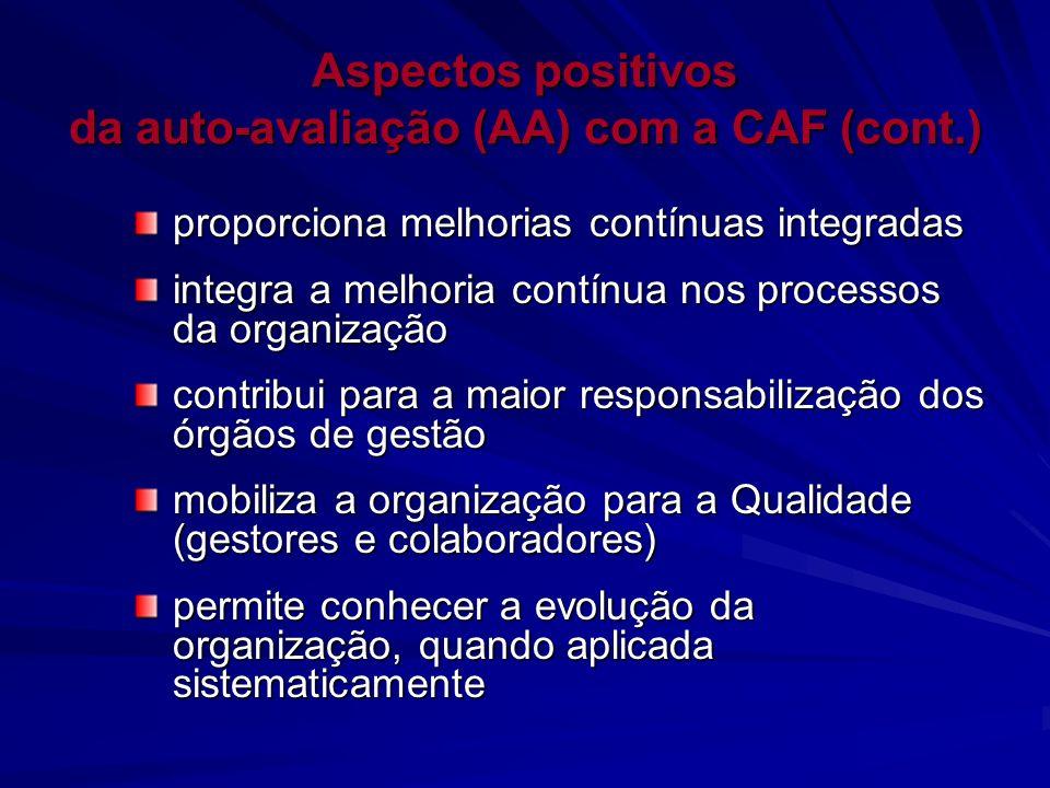 Aspectos positivos da auto-avaliação (AA) com a CAF (cont.)