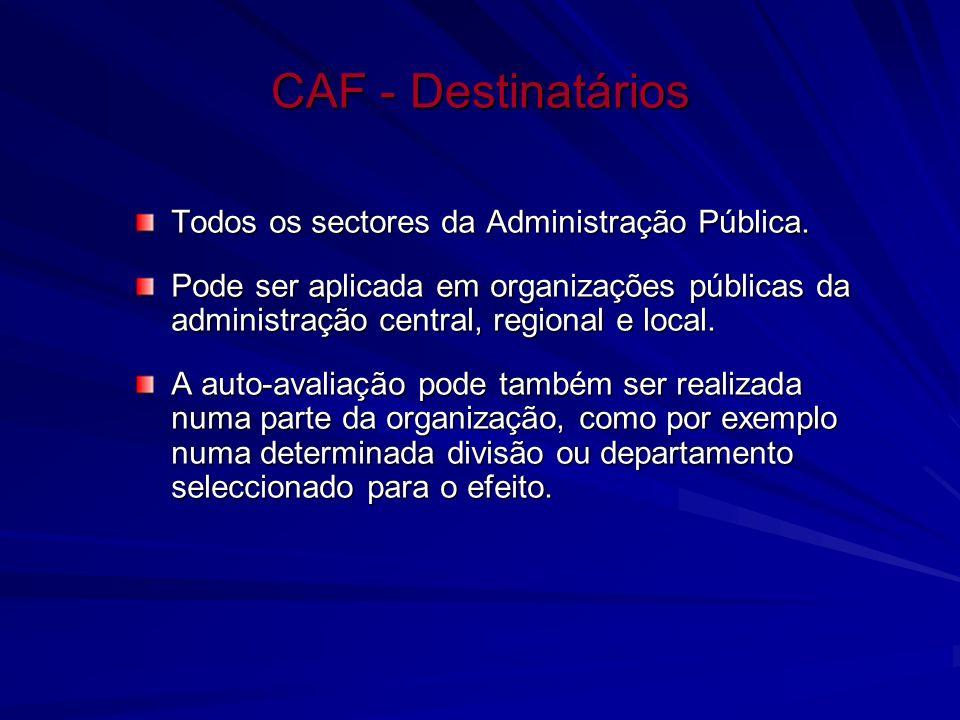 CAF - Destinatários Todos os sectores da Administração Pública.