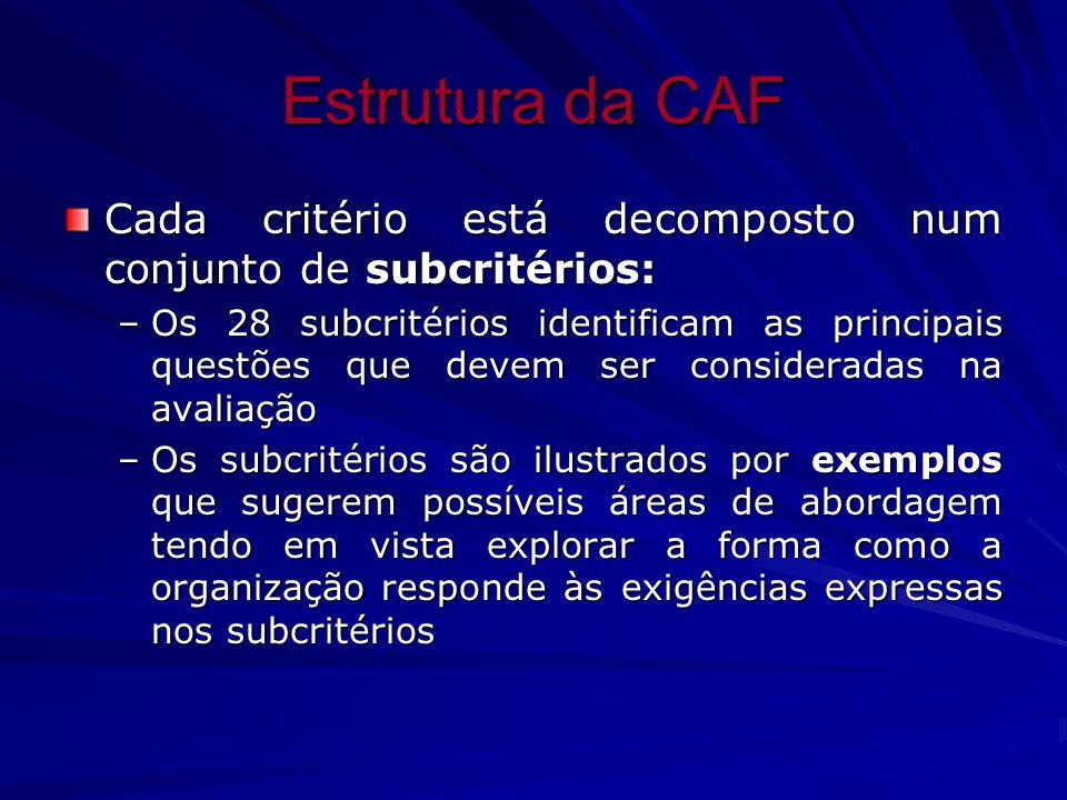 Estrutura da CAF Cada critério está decomposto num conjunto de subcritérios:
