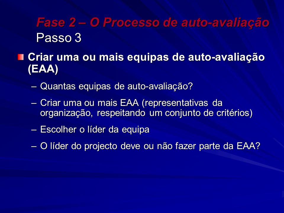 Fase 2 – O Processo de auto-avaliação Passo 3