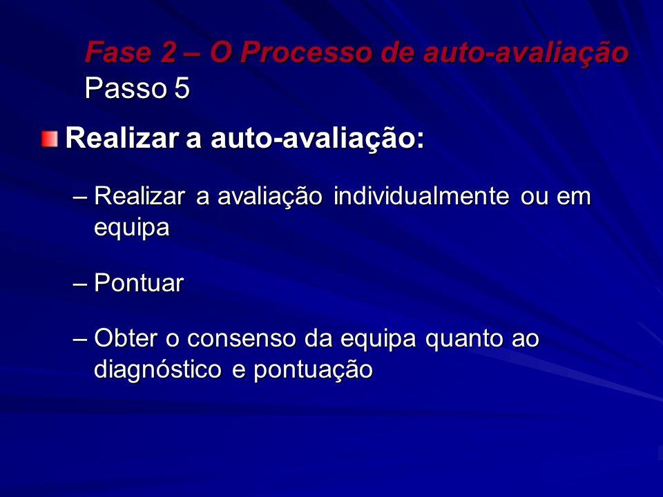 Fase 2 – O Processo de auto-avaliação Passo 5