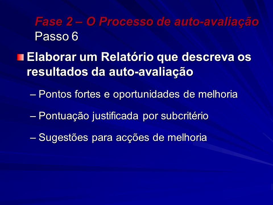 Fase 2 – O Processo de auto-avaliação Passo 6