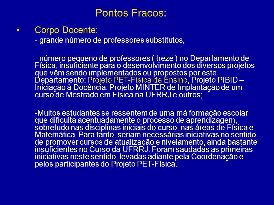 Pontos Fracos: Corpo Docente: